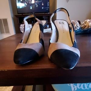 Black and gray sling back